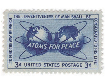 10 Unused Vintage Postage Stamp - 1955 3c Atoms For Peace - Item No. 1070