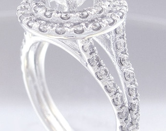 14k white gold round cut simulated diamond engagement ring split band halo 1.80ctw