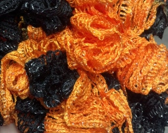 Black and Orange Ruffle Scarf (black and orange with a hint of sliver)