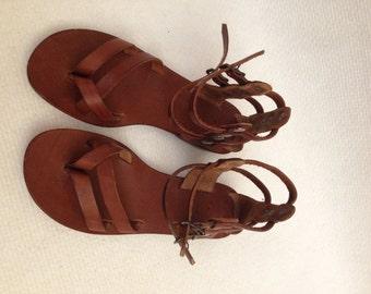 AETRA: Toe Thong Leather Gladiator Sandal Handmade leather sandal custom size available