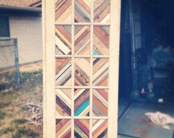 Decorative Antique Door with Reclaimed Wood Inlay