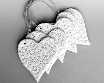 Wedding Tags - 5 Ceramic Heart Gift Tags, Wedding Favor, Wedding Shower Gift, Bridesmaid Favor, Lace, white - 2.5 by 2.25 inches - sisal tie
