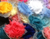 25 Mixed Solid Shabby Flowers, Shabby Flower Grab Bag, Wholesle Flowers, Shabby Chiffon Flowers, Shabby Rose Trim, Hair Bow Supplies