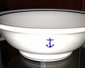 "US Navy 10"" Serving Bowl w/ Fouled Anchor fm Wardroom Officers Mess, Everyday Use, Heavy Durable Restaurantware - WWII Korea Vietnam era"