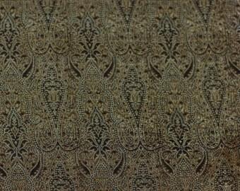 """18"""" x 25"""" piece Gold/Black Silk/Metallic/Rayon Brocade Silk Fabric,  (JD-392B)"""