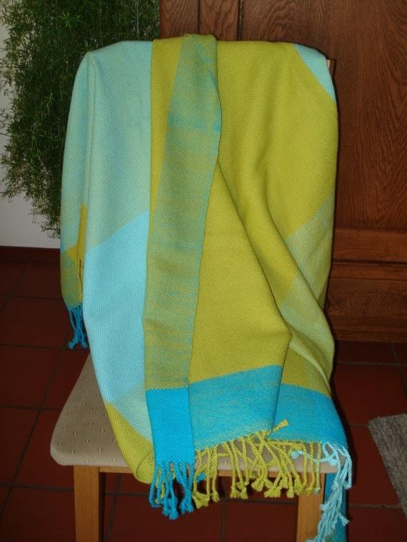 Throw or Blanket, 100% Alpaca Wool, Handwoven, colours turquoise, dark turquoise &  dark lime