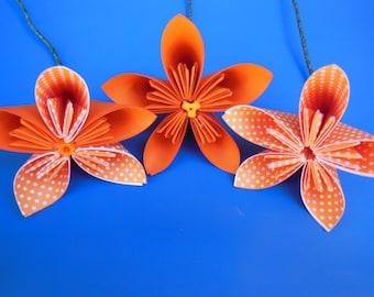 3 Medium Origami Flowers with center detail (cardstock)