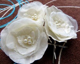 Ivory wedding bridal flower hair clips (set of 3), bridal hair accessories, bridal floral headpiece, wedding hair accessories