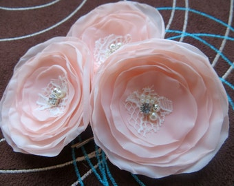 Blush pink wedding bridal flower hair clips (3 pcs),bridesmaid hair clips, hairpiece, bridal hair flower, wedding accessories, READY TO SHIP