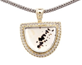 Montana Moss 4 - Pendant - Sterling Silver and 24K Gold plating - Montana Moss Agate
