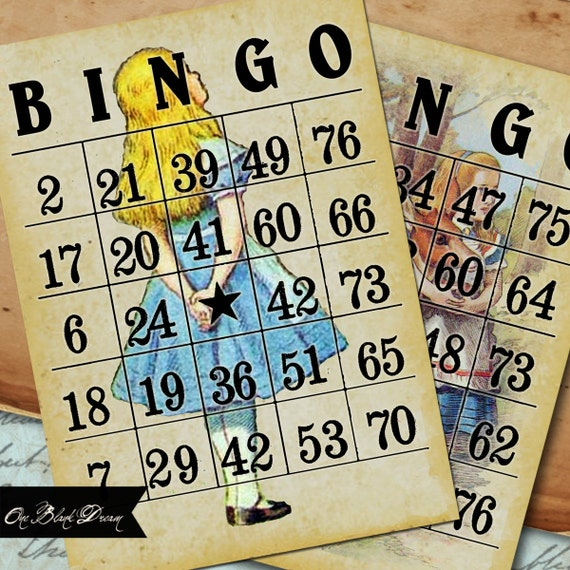 8 Alice In Wonderland Vintage Bingo Cards Printable Digital Collage Sheet Instant Download