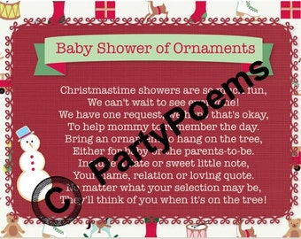 Baby Shower Ornament Poem inserts used along side of invitations