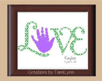 LOVE Flower Handprint Art - Personalized Baby Nursery/Child's Room, Parent gift, Mother's & Father's Day, Valentine's Day, Grandparent Gift