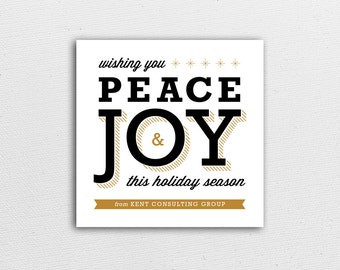 Holiday Card - Peace & Joy in Gold - Corporate or Family