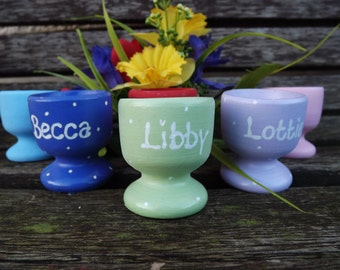 Personalised Wooden  Easter Egg  cup decoration