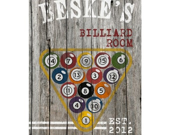 Personalized Sign - Personalized Bar Sign Canvas - Personalized Billiards Print - GC885 BILLIARDS