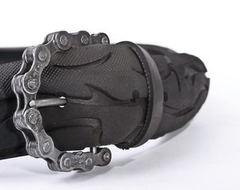Recycled Bicycle Tire Belt and Chain Buckle