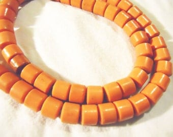 Vintage Bohemian Cezch old TRADE BEADS for yoruba old Glass olombo beads color is bright orange - Africa trade beads