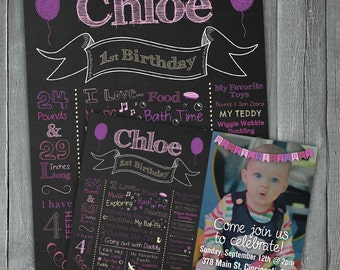 Chalkboard Birthday Sign Combo Deal - First Birthday Chalkboard Poster PLUS First Birthday Invitation - Chalkboard Birthday Invitation