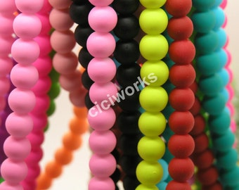 Wholesale 100pcs Multi-color Matte Rubber Neon Round Glass Beads 12mm  GD100RB62