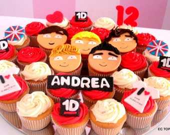12 One Direction Theme Inspired Cupcake Toppers