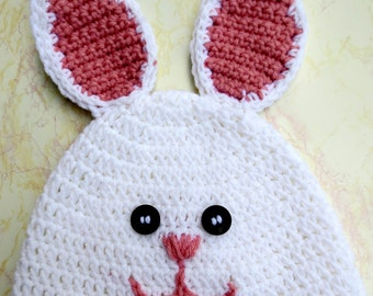 Bunny Hat for Adults - Crochet Bunny Hat - Easter Bunny Hat - Easter Hat - Bunny Hat for Adults - Womens Bunny Hat - Mens Bunny Hat