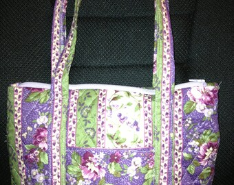 Purple flowered Quilted Purse