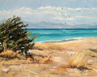 Original Seascape oil on canvas 'Lefkada' 60 x 25