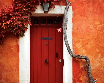 Roussilon, France Fine Art Photography Print French Red Door Ocher 8x10 11x14 Southern