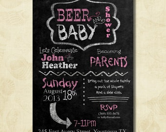 Pink BEER And Baby Shower, Couple, Dad Baby Shower Invitation, Chalkboard  Invitation,