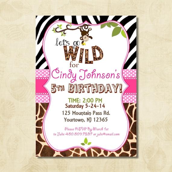 Jungle Invitation Birthday Invitation Monkey Zebra Animal