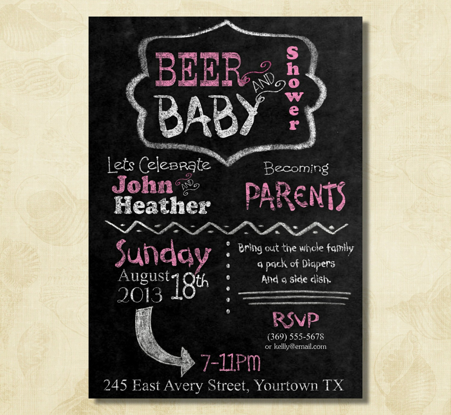 Pink BEER And Baby Shower Couple Dad Baby Shower Invitation