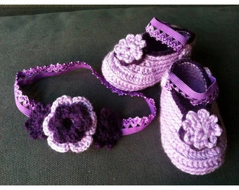 Mary Jane Baby Slippers, Violet and Dark violet Baby Shoes with Flowers, Baby Girl Booties,Head Band