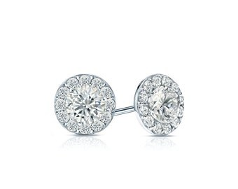 14k Gold Halo Round Diamond Stud Earrings 0.75 ct. tw. (H-I, I1-I2)