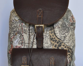 Genuine Leather and Africa Print  Backpack