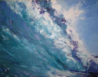 "24 x 30"" Original Ocean Wave Fine Art Acrylic Painting"