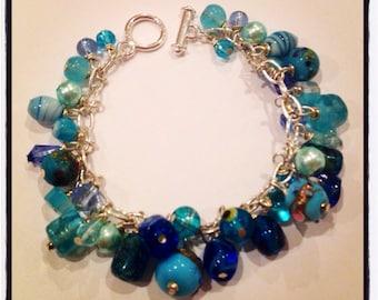 Chunky Blue Cluster Toggle Bracelet
