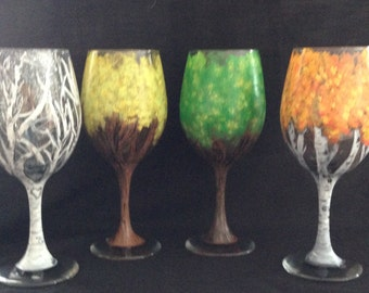 Hand Painted Four Seasons of Trees Wine Glasses