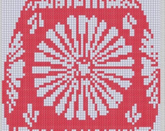 Red Easter Egg Cross Stitch Pattern