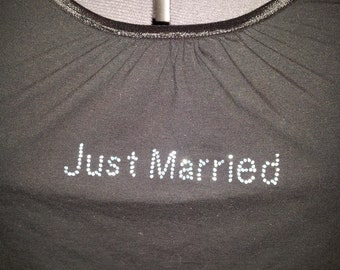 Plus Size Black Just Married Tank Top with Blue Crystal Letters