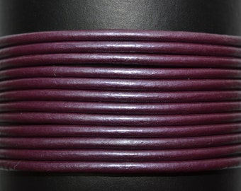Berry - 1mm Leather Cord per yard