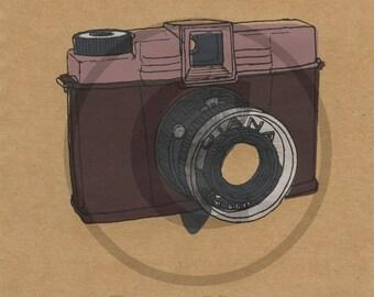 Screenprint of Vintage Diana Camera - Five Layer Portrait Format Screenprint, Red/Pink/Silver/Dark Grey on Brown Heavyweight Art Paper