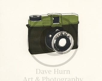 Screenprint of Vintage Diana Camera - Five Layer Square Format Screenprint, Dark Green/Green/Silver/Dark Grey on White Heavyweight Art Paper