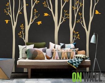 Large birch tree decal, nursery birch decal, tree wall decal, five  Birch Trees, Vinyl Wall Decal bird stickers K010