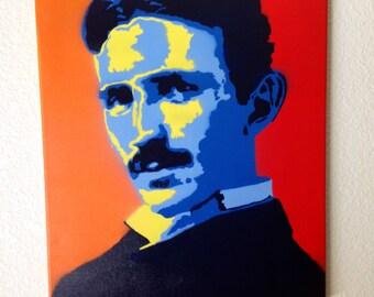 Nikola Tesla - Portrait - Graffiti Art - Spray Paint - Canvas - Mad Scientist