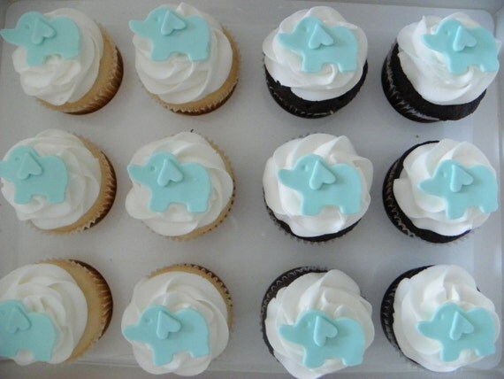 Edible Cake Images Elephant : Edible Fondant Elephants Cupcake and Cake Toppers