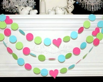 Paper Garland 10ft -Pink Lime Green Turquoise -Wedding garland, Party Garland-Birthday Party Decor - Photo Prop - Any Occasion Garland