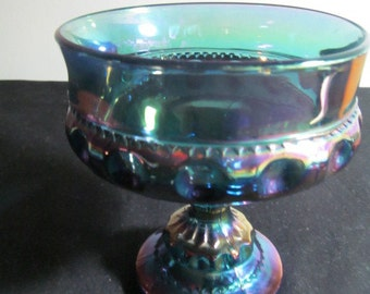 Indiana Glass candy compote dish iridescent blue King's Crown thumbprint footed