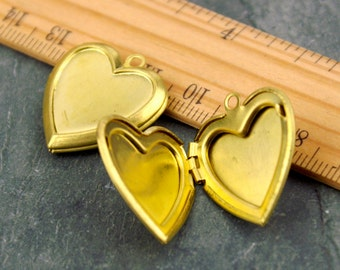 22x35mm Raw Brass Locket Heart Lockets rb67(4pcs)