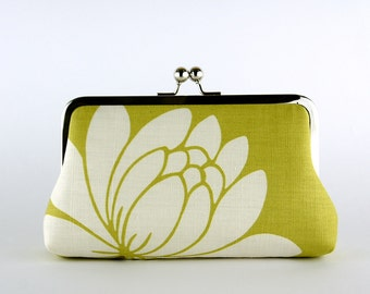 Bridesmaid Gift, Lotus on Lime Clutch, Silk Lining, Bridesmaid Clutch, Wedding clutch
